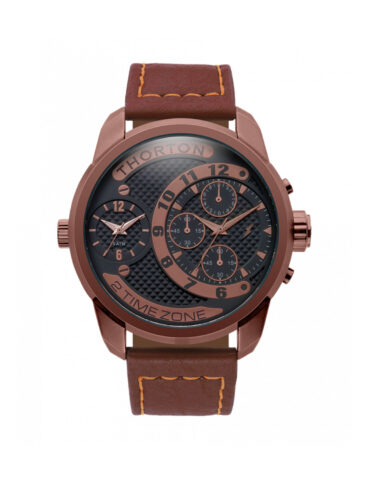 kotsoniskosmimata thorton vidar dual time zone chronograph brown metal 9001171